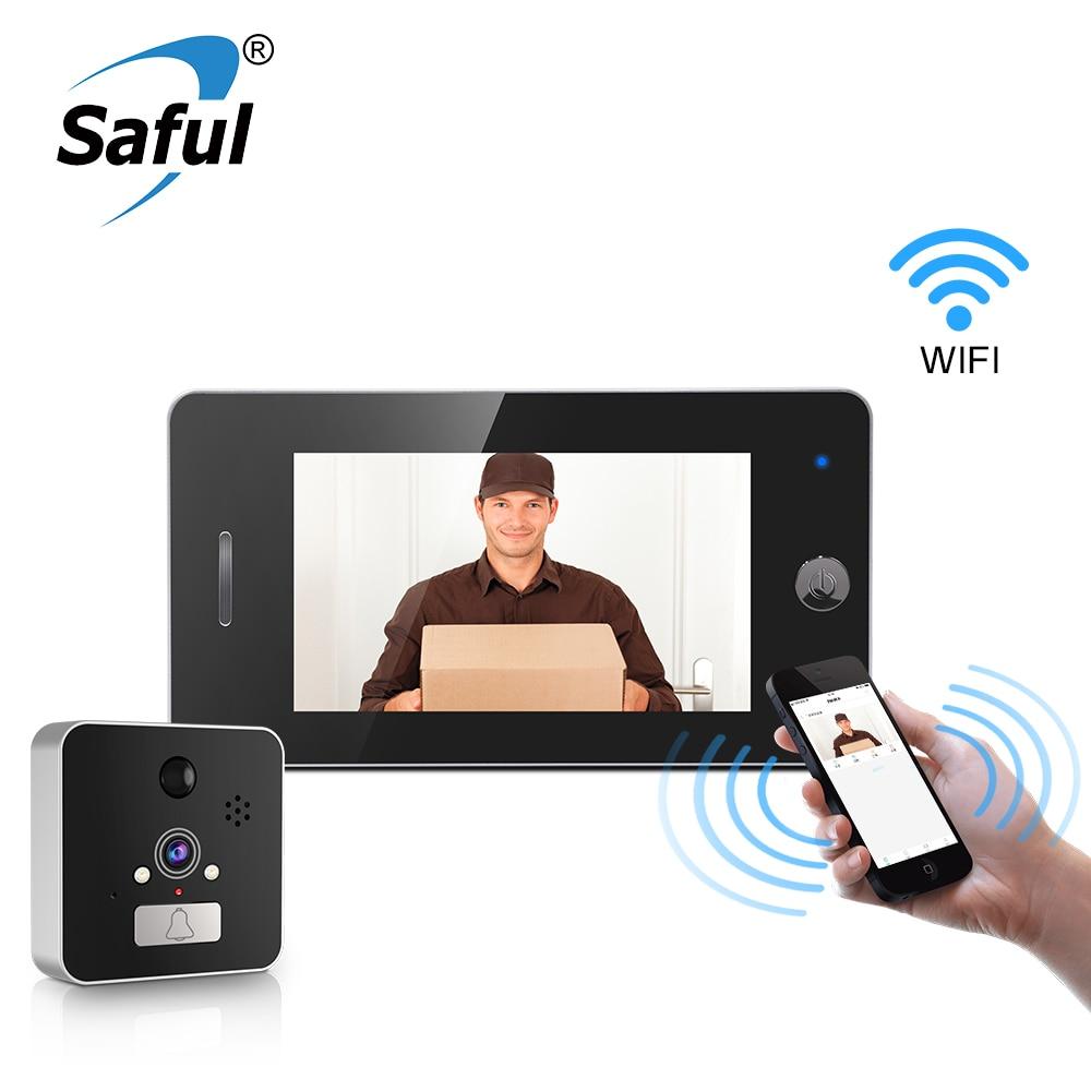Saful 4.3 ''Wifi porte judas visionneuse caméra sonnette avec détection de mouvement Vision nocturne 120 degrés cloches de porte