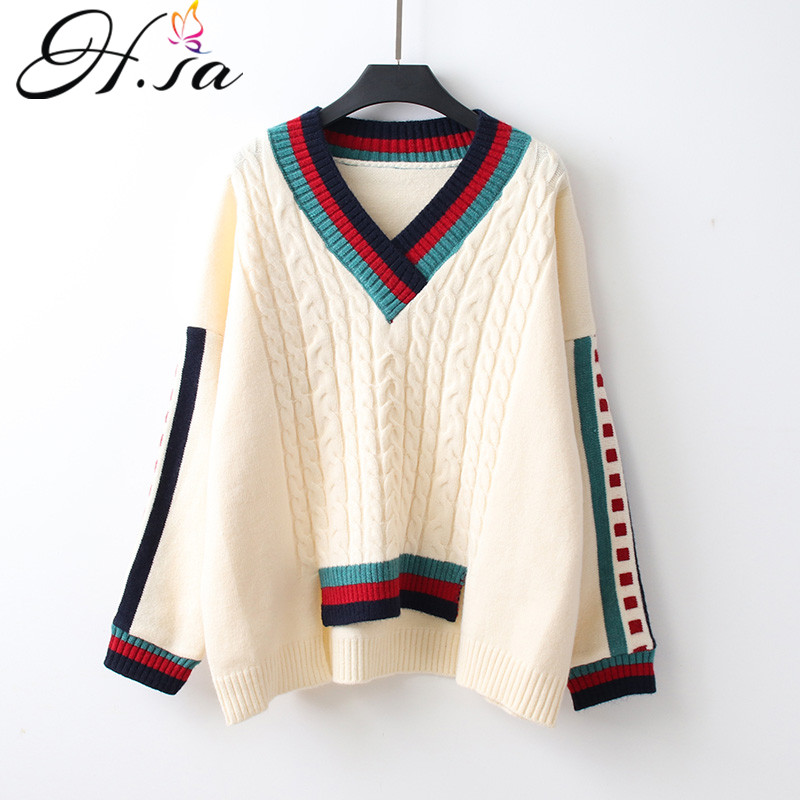 H.SA Korean Style Women Winter Fashion Pullover And Sweaters V Neck Twisted Irregular Pull Femme Sueter Mujer Invierno 2019