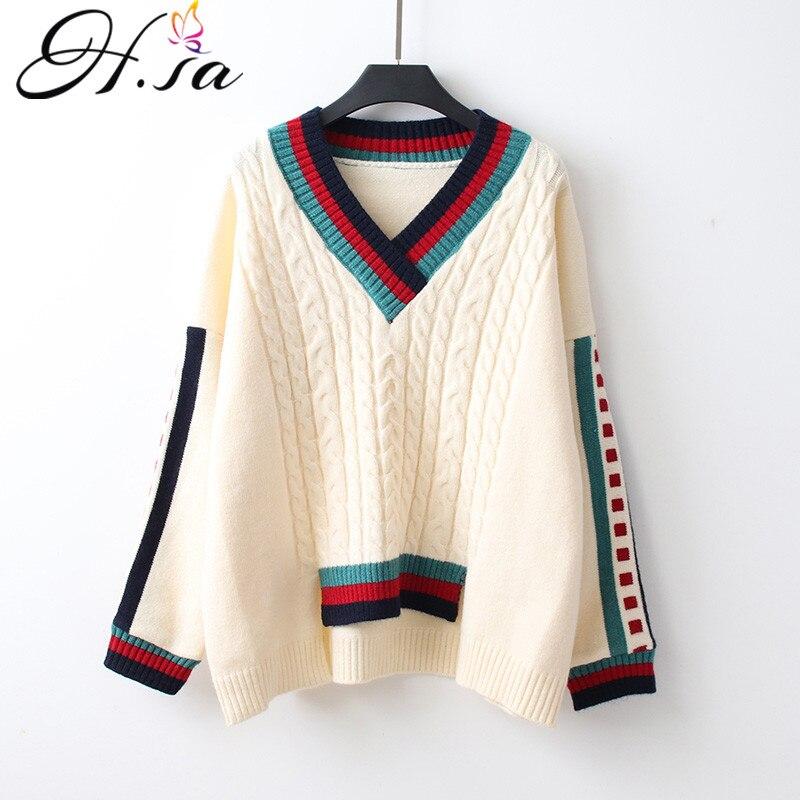 Женский свитер с треугольным вырезом H.SA, зимний свитер в Корейском стиле с витой нитью, 2020|Водолазки|   | АлиЭкспресс