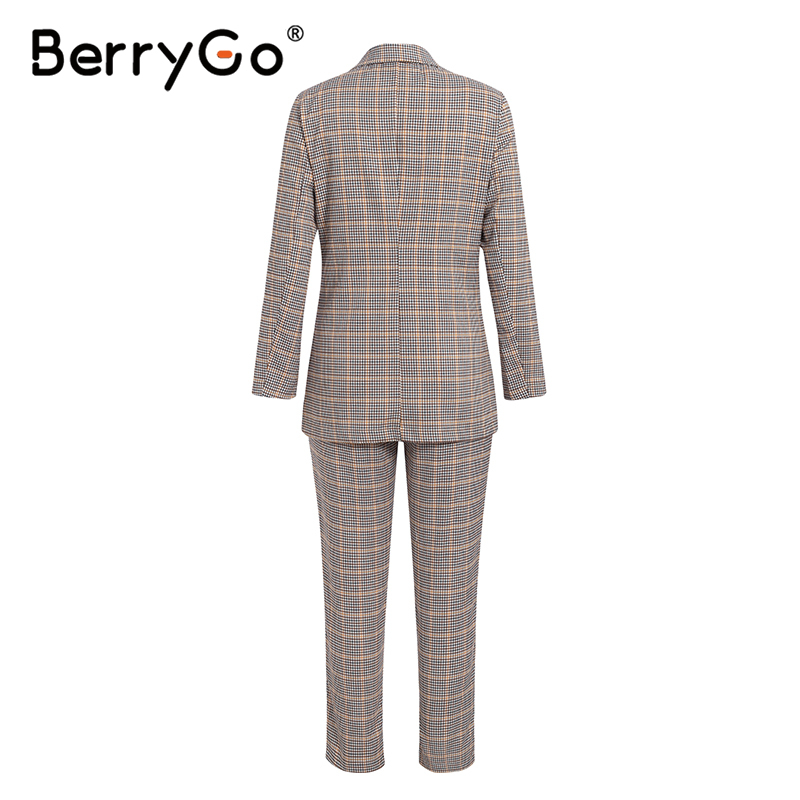 Ha7bb38d602fc40b986c37084faae27c6Q - BerryGo Womens business suit plaid pant suits female Office ladies double breasted ladies suits Spring two-piece blazer suit set