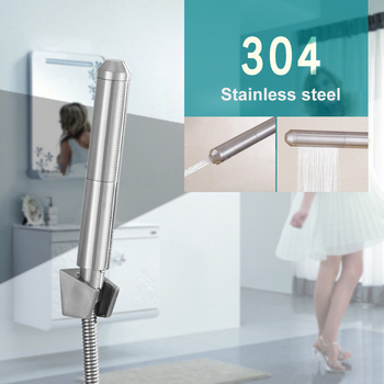 цена на Stainless Steel Handheld Bidet Spray Shower Toilet Shattaf Sprayer Douche Bidet Faucet Brushed Wall Mounted Shower Faucet
