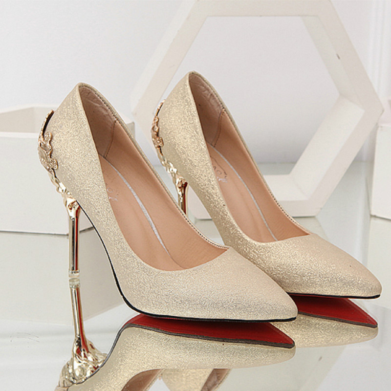 2019 New Spring Women Pumps High Thin Heels Pointed Toe Metal Decoration Sexy Bling Wedding Women Shoes Gold High Heels R1-05