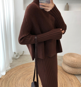 Image 1 - Knitting Female Sweater Suit For Women Two Piece Set Knitted Pullover  Elegant Knitting Clothing Suit