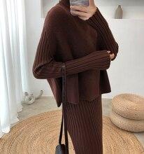 Örgü Kadın Kazak Kadınlar Için Iki Parçalı Set örme kazak Zarif Örgü giyim takım elbise