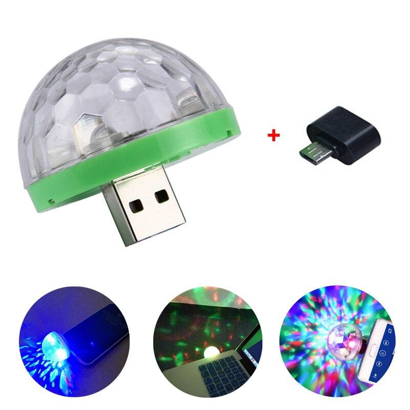 Mini usb led luz de palco discoteca portátil festa da família bola mágica colorido barra luz clube lâmpada efeito estágio para o telefone móvel