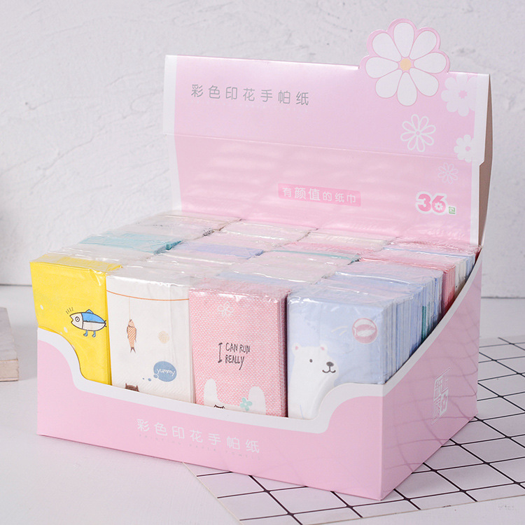 New Hot Sales Printed Paper Towel Environmentally Friendly Crude Pulp Gift Box Kleenex Bag Handkerchief Paper Wholesale 36 Packa