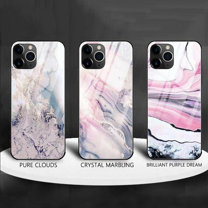 Luxury Marble Glass Waterproof Phone Case for iPhone 12 Pro Max 1