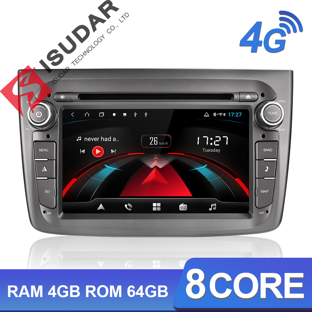 Isudar H53 4G Android Auto Radio 1 Din For Alfa Romeo Mito 2008-  Car Multimedia 8 Core RAM 4GB ROM 64GB DVD Player DVR Camera