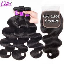 Celie Hair-mechones de cabello humano brasileño ondulado, mechones con cierre de encaje 6x6, Remy, 3 mechones