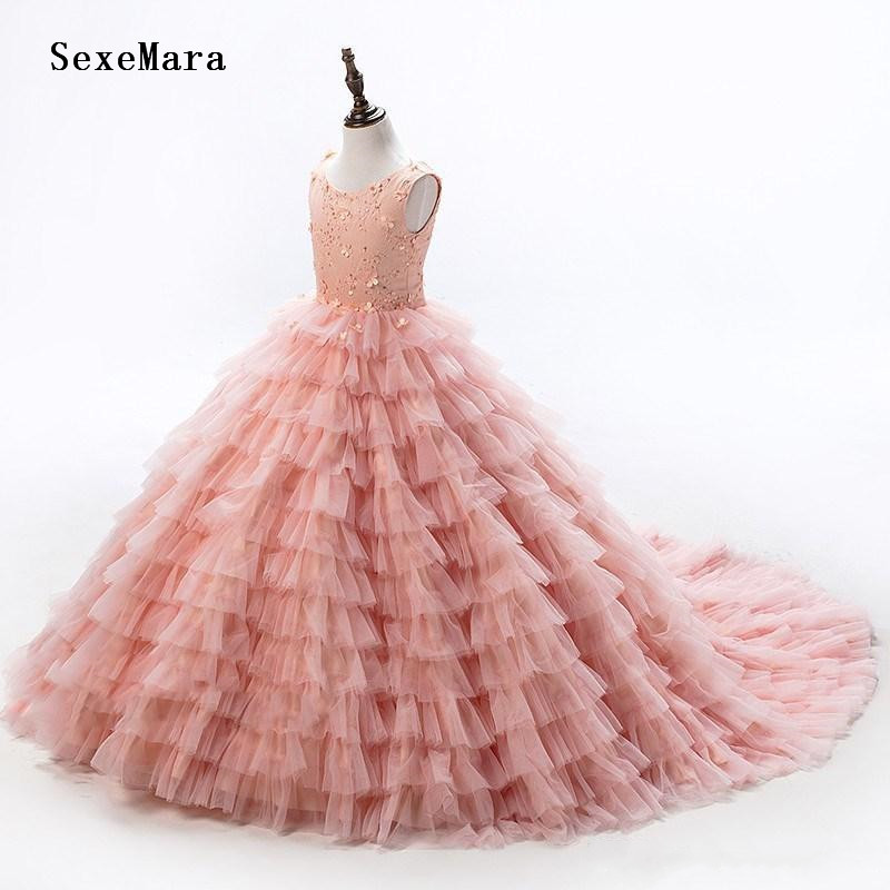 Custom Pink   Flower     Girl     Dress   for Wedding Party Little Princess Ball Gown Beaded Lace Kids Birthday   Dress   Real Picture