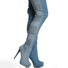 2020 New Women Hole Ripped Jeans Over The Knee Boots Sexy Super High Heel Stretchy Night Club Footwear Shoes Large Size 34-46(China)