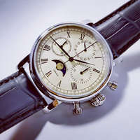 Reloj de pulsera multifuncional para hombre, cronógrafo de acero inoxidable, zafiro, resistente al agua, fase lunar, réplica de piloto