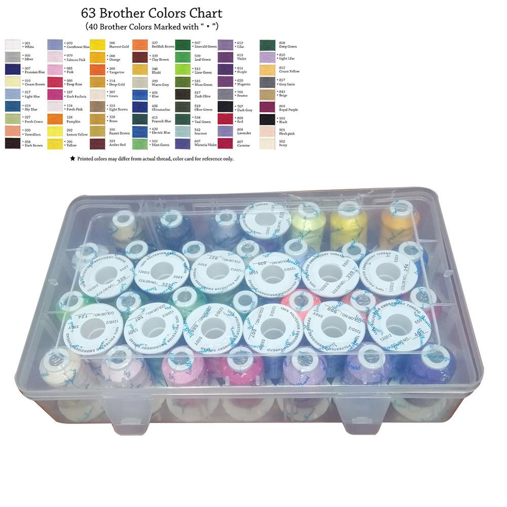 Simthread 40 Brother Colors Kits In Plastic Box Trilobal Polyester Thread For Machine Embroidery Sewing On Brother Janome Etc