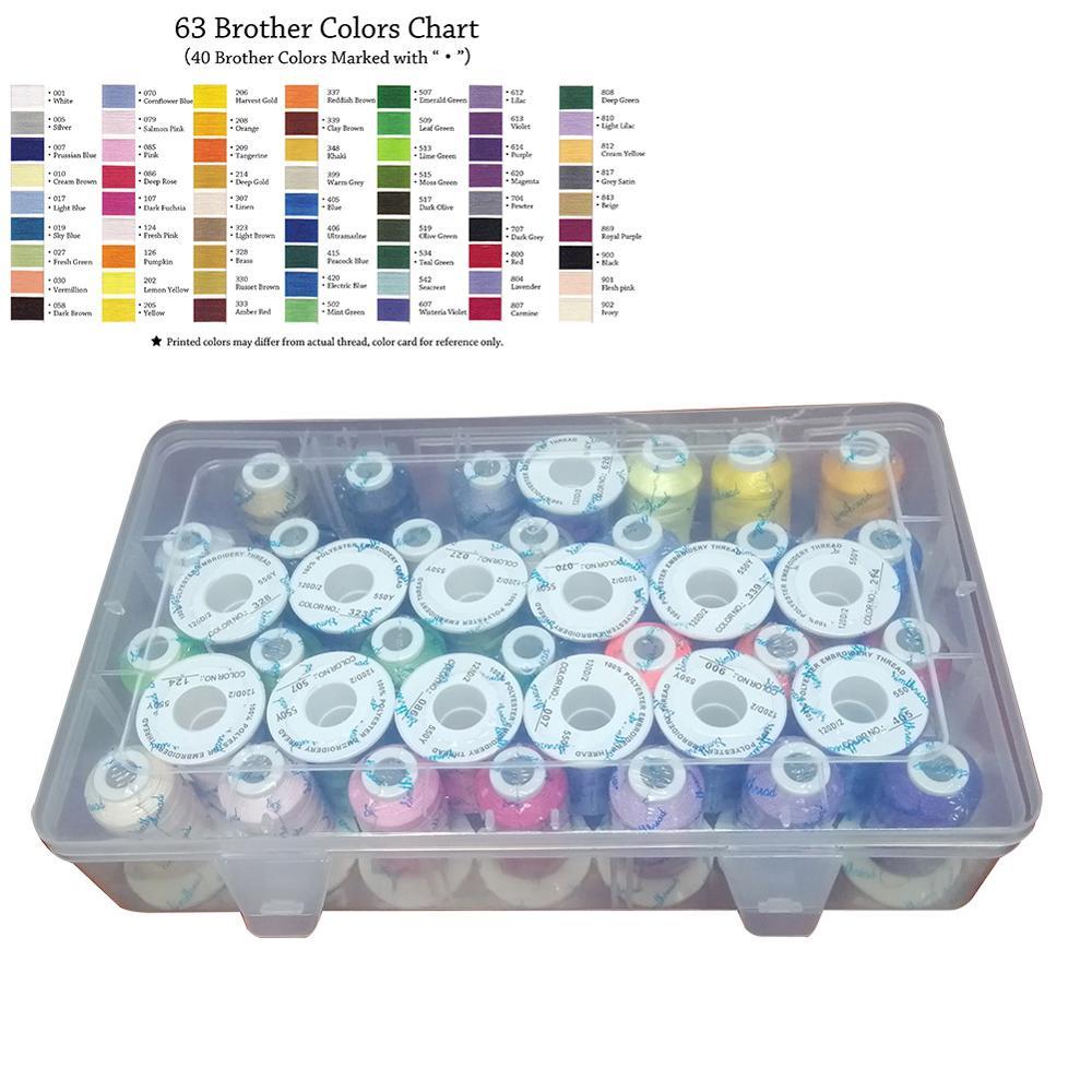 40 Simthread 61brother Cores Kits em Caixa De Plástico fio de Poliéster Trilobal para Bordado De Máquina De Costura Irmão Janome etc