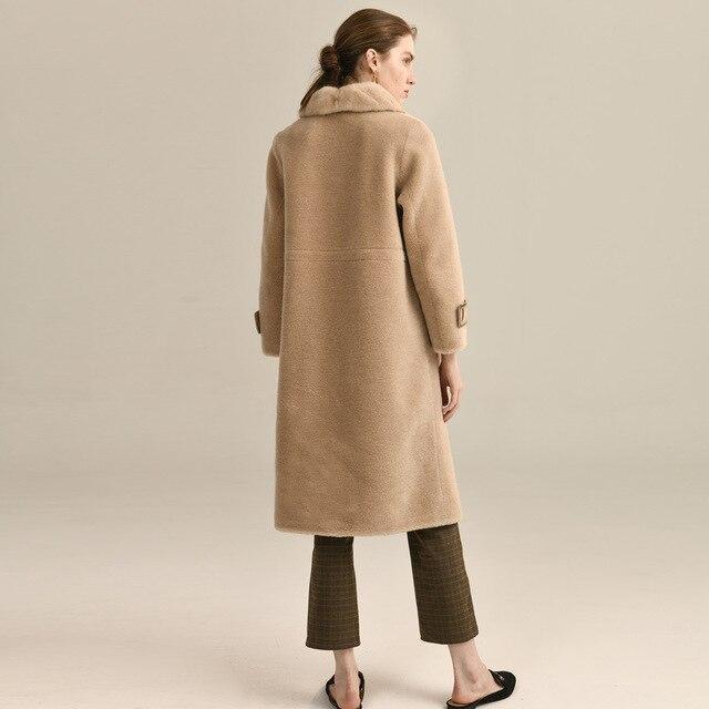 Automne hiver manteau femmes vêtements 2020 mouton cisaillement réel manteau de fourrure 100% laine veste femmes vison col de fourrure hauts XM8585 YY1955