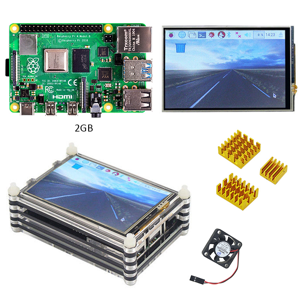New Release Official Raspberry Pi 4 Model B 2GB Kit With 3.5 Inch Touch Screen Display 480x320 LCD And 9 Layers Case+ Heatsink