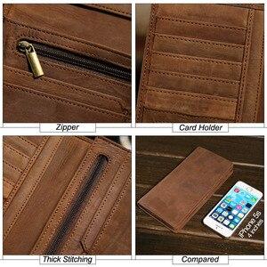 Image 5 - MISFITS crazy horse 정품 가죽 남성용 지갑 지퍼 포켓이있는 빈티지 롱 지갑 브랜드 soft cowhide male purse card holder