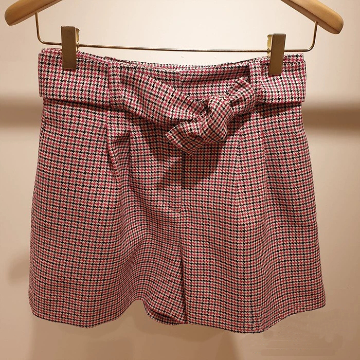 Houndstooth Plaid Women Short Bow Lace Up Casual Shorts
