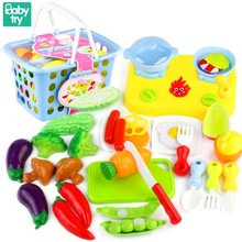 30pcs Learning Cutable Vegetables Fruits Cook Juguetes Pink Blue Basket Kitchen Set Cooking Toys For Kids Girls Boys Xmas Gifts