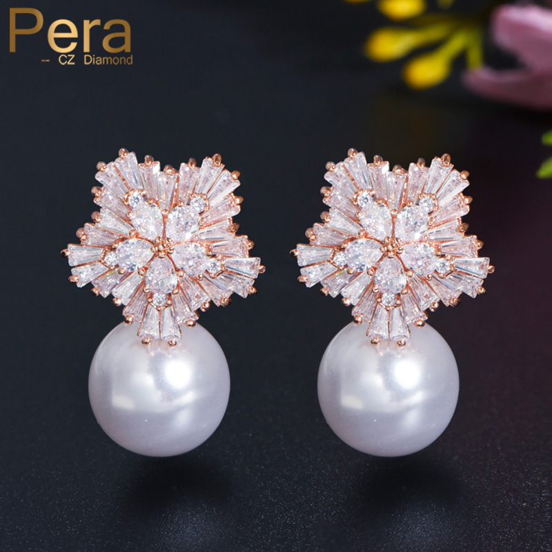 Pera Luxury Rose Gold Color Big Flower Imitation Pearl Long Drop örhängen Brud Bröllop Romantisk design smycken för brudar E162