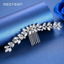 Mecresh Leaf Marquise Crystal Bridal Hair Ornaments Wedding Accessories Silver Color Rhinestone Combs for Women FS238