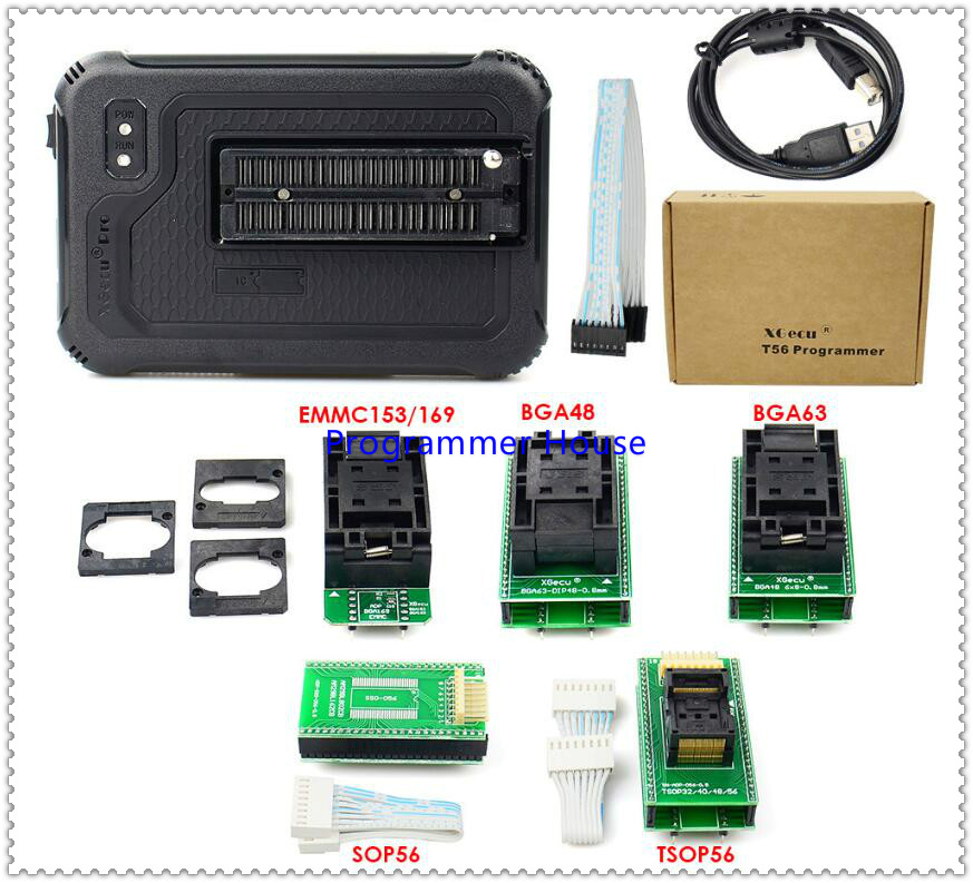 Free Ship XGecu T56 Programmer 56Pin Drivers ISP 20000+ICs For PIC/NAND Flash/EMMC TSOP48/TSOP56/BGA48/63/64/100/153/162/169/221