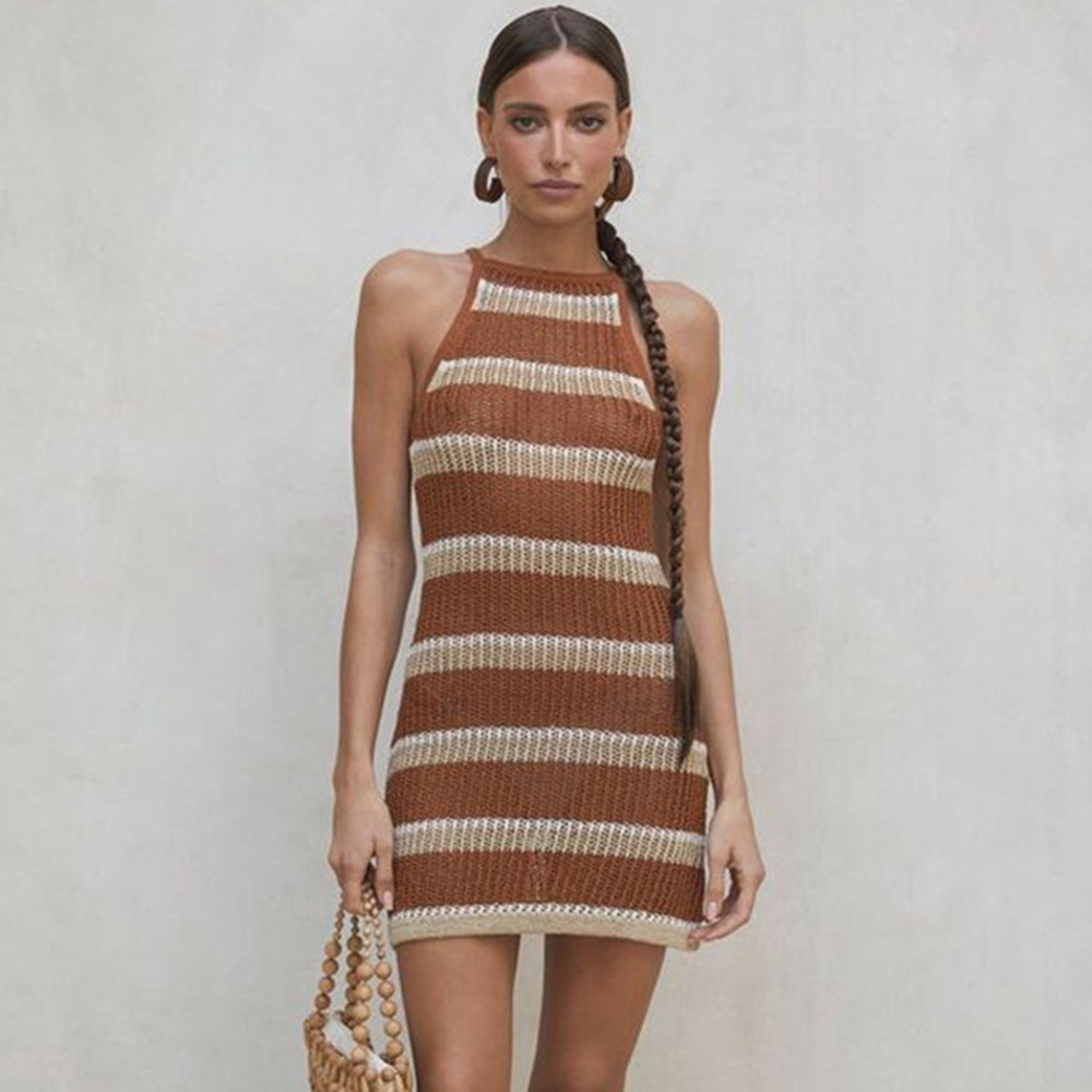New Knitted Beach Cover Up Women Bikini Swimsuit Cover Up Hollow Out Beach Dress Tassel Tunics Bathing Suits Cover-Ups Beachwear 22