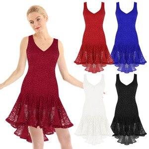 Image 5 - TiaoBug Mulheres Dança Latina Vestido Colher Neck Lace Plissado Alta Baixa de Salão Salsa Samba Tango Dancewear Traje Performance de Palco