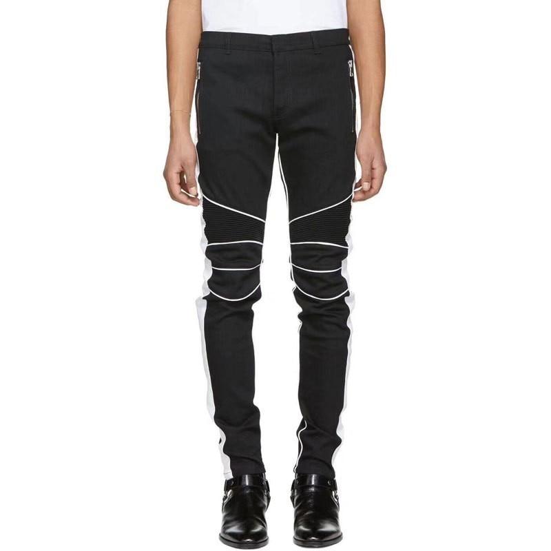 Euro High Street Fashion Mens Slim Fit Motorcycle Pencil Pants White Striped Jeans Long Trousers Plus Size 42 Biker Denim Pants