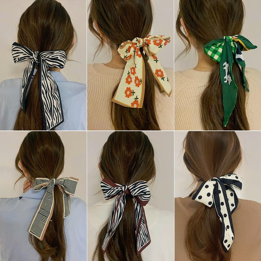 Silk Scrunchies Long Bows Hair Scarf Flower Hair Bands For Women Korean Fashion Headband Girl Hair Accessories Summer Headdress