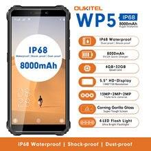OUKITEL WP5 5.5 Inch 4G Rugged Smartphone IP68 Waterproof MT6761 Quad Core Mobile Phone 4GB 32GB 8000mAh Cellphone Triple Camera