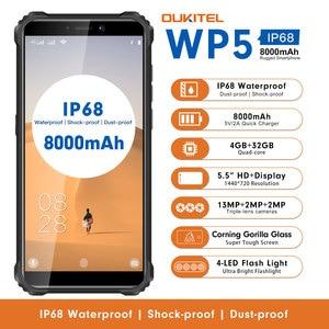 OUKITEL WP5 5.5 Inch 4G Rugged Smartphone IP68 Waterproof MT6761 Quad Core Mobile Phone 4GB 32GB 8000mAh Cellphone Triple Camera(China)