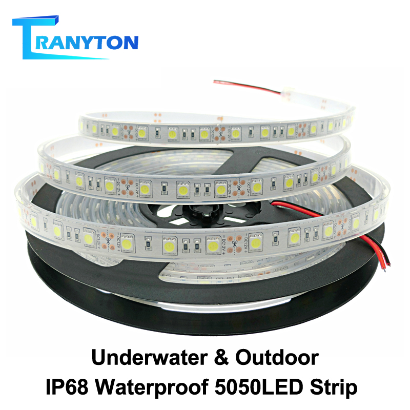 IP67 IP68 Waterproof LED Strip 5050 DC12V High Quality Underwater & Outdoor Safety RGB LED Strip Light 300LEDs 60LEDs/M 5m/lot