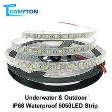 IP67 IP68 su geçirmez LED şerit 5050 DC12V yüksek kaliteli sualtı ve açık güvenlik RGB LED şerit işık 300LEDs 60LEDs /M 5 m/grup