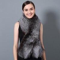 rf2030 Luxury Winter Real Silver Fox Fur Red Fox Fur Scarf 120cm Long Woman Full Pelt Natural Fur Scarves