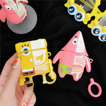 3D SpongeBob Cute Cartoon Patrick Star Bluetooth Earphone Case Charging Box Soft Silicone Cover for AirPods 1 2 Finge Ring Strap