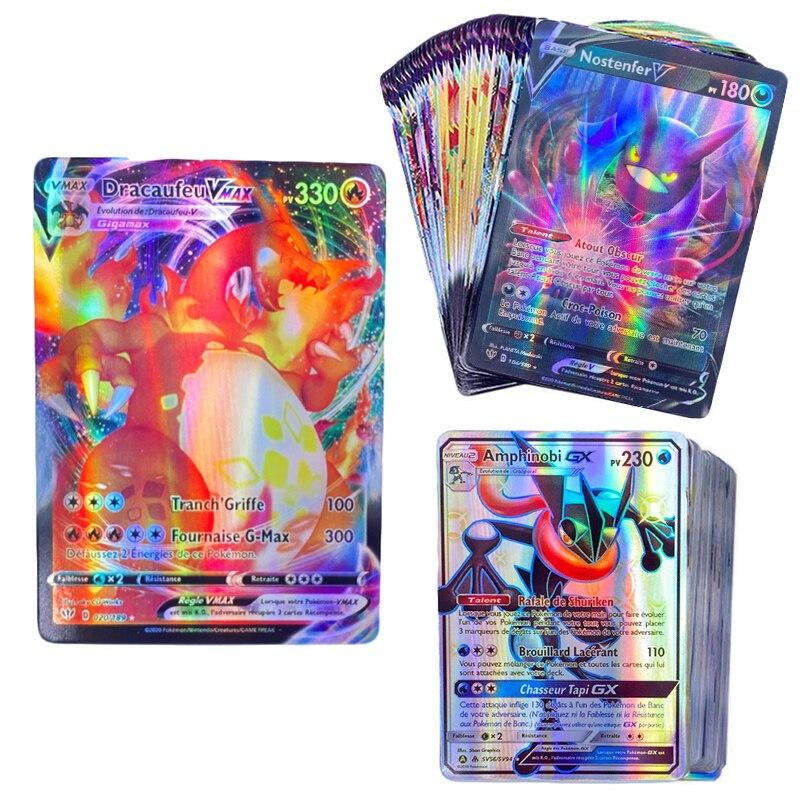 50-300Pcs French Version Pokemon Card Featuring 145 V 54 VMAX 200 Gx 100 Tag Team 20 MEGA 20 EX 1 Tarak