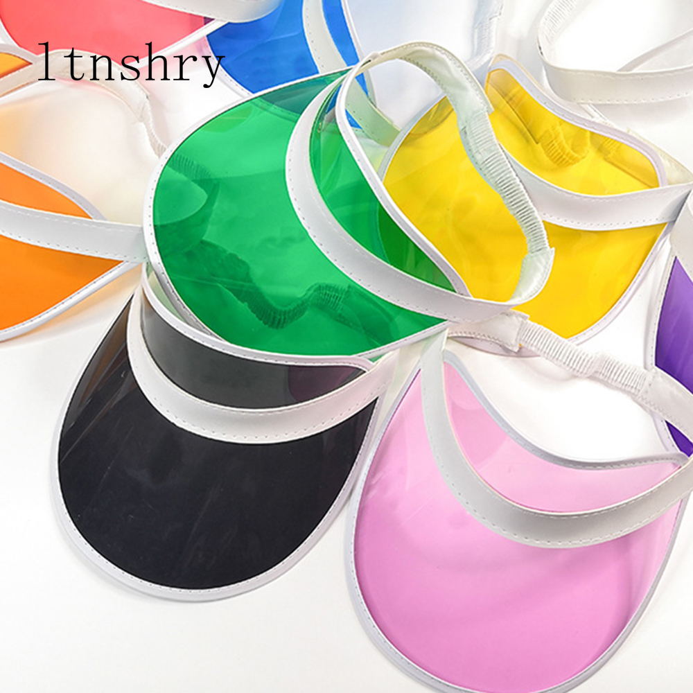 Anti-UV Summer Women Men Sun Hat Color Transparent Empty Top Plastic PVC Sunscreen Hat Visor Caps Bicycle Sunshade Hat Sports