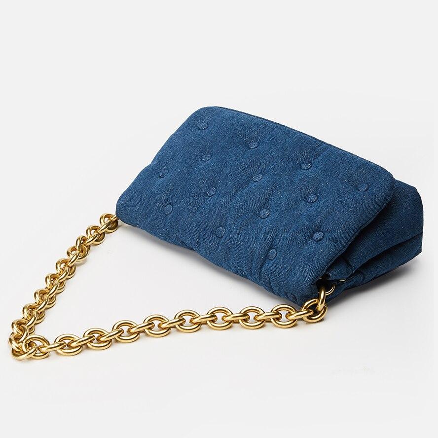 Купить стеганая женская сумка с заклепками металлической цепочкой и
