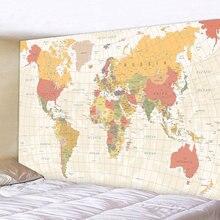 Настенный гобелен в стиле ретро с картой мира подвесной коврик