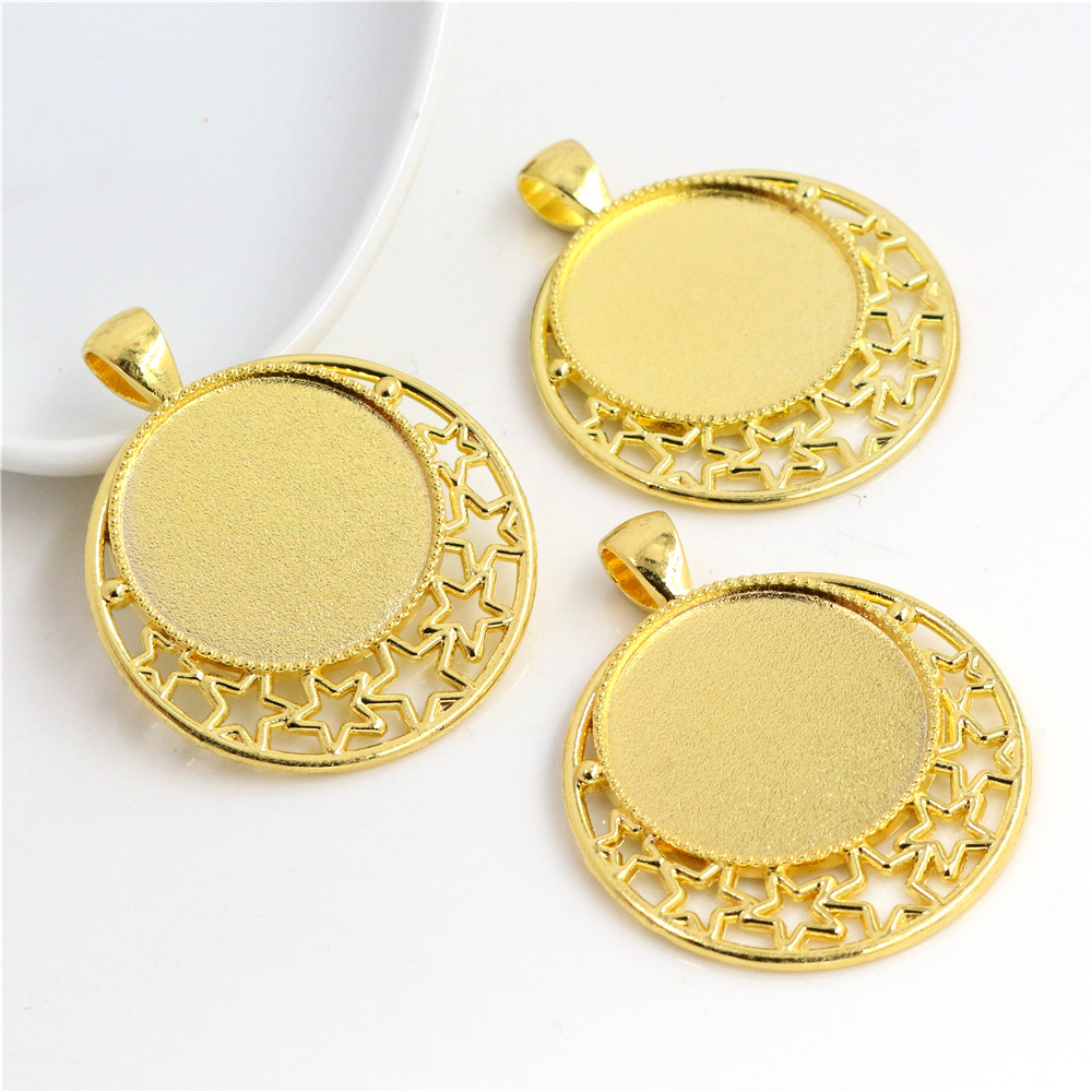 High Quality 5pcs 25mm Inner Size Gold Color Plated Cabochon Base Setting Stars Style Pendant (A6-40)
