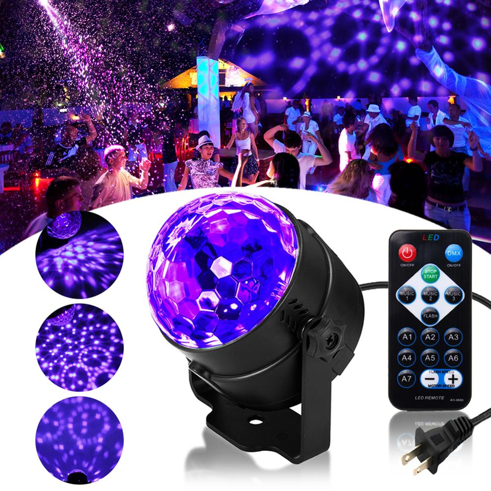 UV Rotating Disco Ball Party Stage Lights Strobe Light 3W RGB LED Stage Lights For Christmas Home KTV Xmas Wedding Show