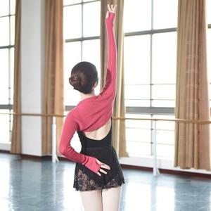 Image 3 - Top de Ballet para mujer, de 6 colores traje de baile, cálido, de punto, de manga larga, para Otoño e Invierno