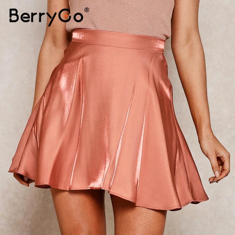 BerryGo Sexy High Waist Summer Skirt Women Satin A-line Ruffled Soft  Female Short Skirt Casual Party Wear Pleated Mini Skirt