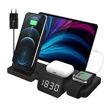 3 in 1 Wireless Ladegerät Stehen mit Uhr für Mehrere Geräte Lade Kompatibel mit Android/ iOS Handys Qi Wireless lade
