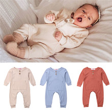 Spring Autumn Newborn Kid Baby Boy Girl Clothes Long Sleeve Romper Pocket Jumpsuit Solid Outfit цена 2017