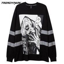 2021 Men's Goth Printed T-shirt Hip Hop Longsleeve Sweatshirt Streetwear Oversize Reflection Band Harajuku Top Tees Men Clothing