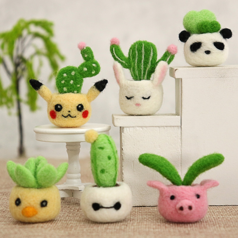 3 pcs in One Pack Lovely Adorable Animal Cactus Plant Wool Needle Felt Material Decoration For Birthday Friend DIY Gift image