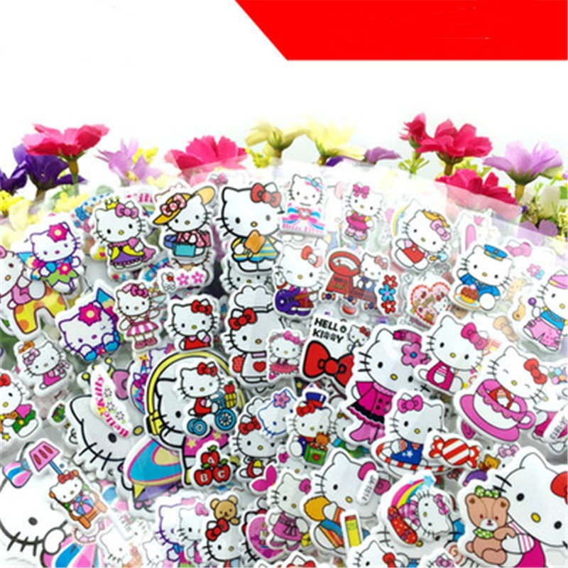 Cute Fairytale Dreamy Small Red Flower Reward Bubble Cartoon Anime Stickers For Children Puzzle Early Education 3D Sticker Pack
