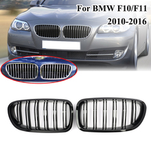 цена на MagicKit Gloss Black Kidney Grill Racing Grille Dual Line For BMW F10 F11 F18 5 Series M5 2011-2016 Front Bumper Kidney Grill